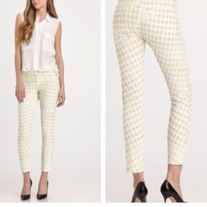 NWT J Brand White Midrise Houndstooth Ankle Pants
